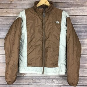 The North Face Brown Ivory White Puffer Coat Sz M